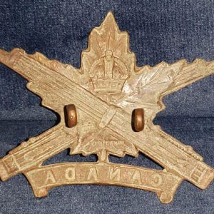 "WW1 Canadian Expeditionary Force ""D Style"" Machine Gun Corps Cap Badge 1.8362"
