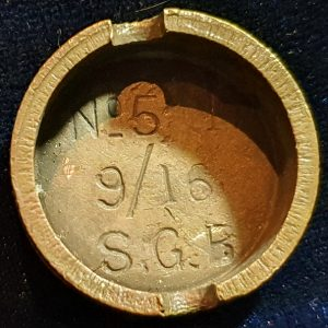 Original WW1 No 5 MK 1 Mills Bomb (Hand Grenade) Base S.G.B 1916 IO.1006