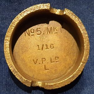 Original WW1 No 5 MK 1 Mills Bomb (Hand Grenade) Base V.P Ltd 1916 IO.1022