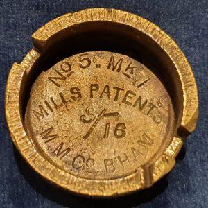Original WW1 No 5 MK 1 Mills Bomb (Hand Grenade) Base M.M Co 1916 IO.1023