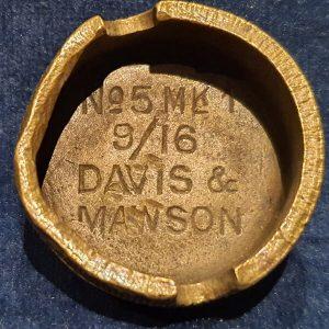 Original WW1 No 5 MK 1 Mills Bomb (Hand Grenade) Base Davis & Mawson 1916 IO.1036