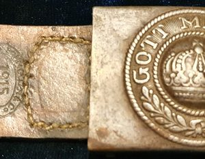 WW1 Imperial German Buckle & 1915 Dated Leather Tab  1.8504