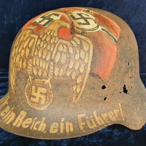 WW2 German Relic M42 Helmet With Post War Memorial Painting 2.14414